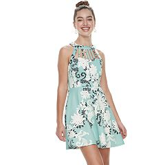 Juniors' Three Pink Hearts Floral Scroll Puff Scuba Caged Skater Dress