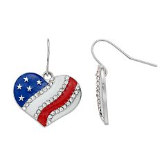American Flag Heart Nickel Free Drop Earrings