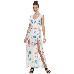Juniors' Three Pink Hearts Floral Ruffle Slit Maxi Dress