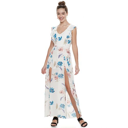 8e0bd57424eb Juniors  Three Pink Hearts Floral Ruffle Slit Maxi Dress