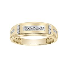Lovemark Men's 10k Gold 1/10 Carat T.W. Certified Diamond Wedding Band
