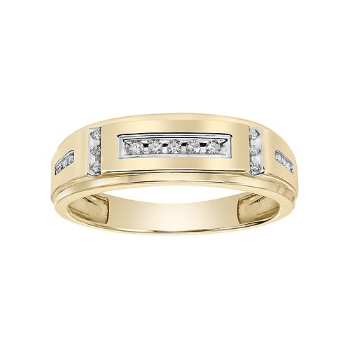 Lovemark Men's 10k Gold 1/10 Carat T.W.  Diamond Wedding Band