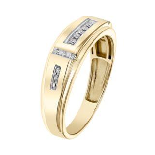 Lovemark Men's 10k Gold 1/10 Carat T.W. Certified Diamond Wedding Band