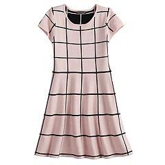 Girls 7-14 My Michelle Grid Pattern Sweater Dress