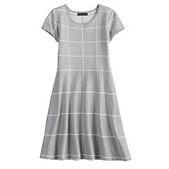 Girls 7-14 My Michelle Grid Pattern Sweater Dress