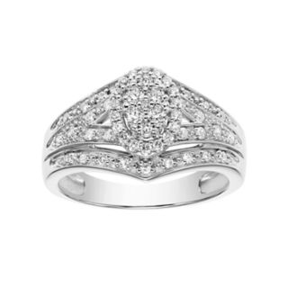 Lovemark 10k White Gold 3/8 Carat T.W. Certified Diamond Cluster Oval Halo Engagement Ring