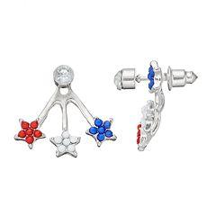 Red, White & Blue Star Nickel Free Jacket Earrings
