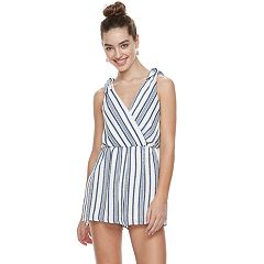 Juniors' Three Pink Hearts Striped Cross-Front Surplice Romper