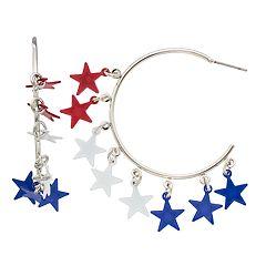 Red, White & Blue Nickel Free Star Hoop Earrings