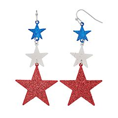 Red, White & Blue Star Nickel Free Drop Earrings