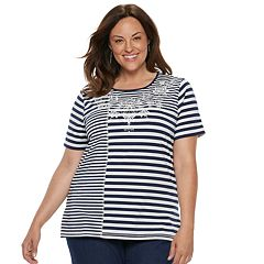 Plus Size Alfred Dunner Studio Diagonal Stripe Top