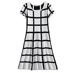 50afa98395fd Girls 7-14 My Michelle Grid Pattern Sweater Dress