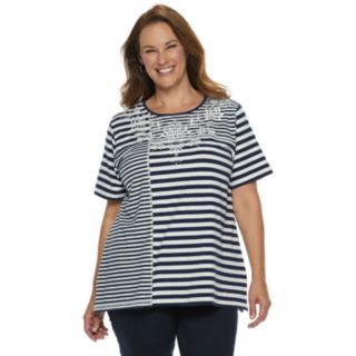 Plus Size Alfred Dunner Studio Striped Floral Lace Tee