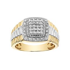 Lovemark Men's Two Tone 10k Gold 1/4 Carat T.W. Certified Diamond Square Halo Wedding Band