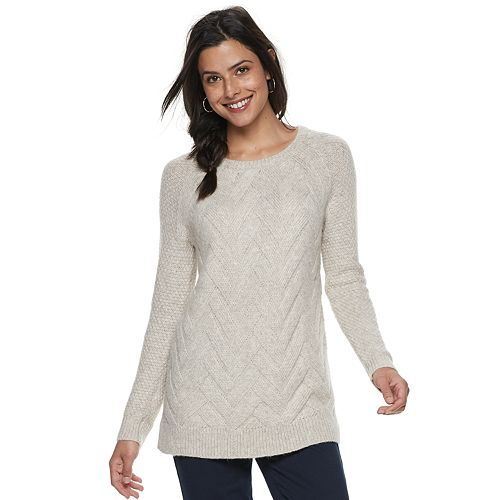 Women's SONOMA Goods for Life™ Supersoft Lattice Stitch Crewneck Sweater