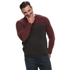 Big & Tall Croft & Barrow® Classic-Fit Colorblock 12GG Crewneck Sweater