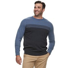 Big & Tall Croft & Barrow® Classic-Fit Colorblock 12GG Crewneck Sweater