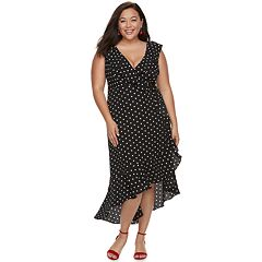 Plus Size Chaya Polka-Dot High-Low Maxi