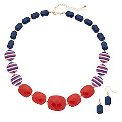 Red, White & Blue Beaded Necklace & Drop Earrings Set