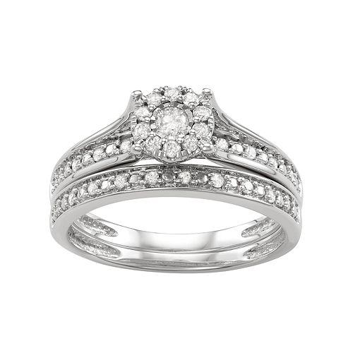 10k White Gold 1/3 Carat T.W. Diamond Cluster Engagement Ring Set