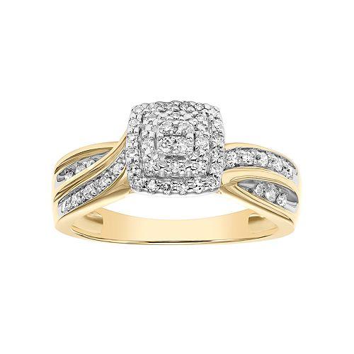 Lovemark 10k Gold 1/4 Carat T.W. Certified Diamond Square Halo Engagement Ring