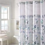 Hookless Seashell Stripe Shower Curtain & PEVA Liner