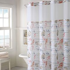 Hookless Seashell Stripe Shower Curtain & PEVA Liner