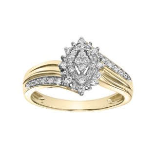Lovemark 10k Gold 1/5 Carat T.W. Certified Diamond Marquise Engagement Ring