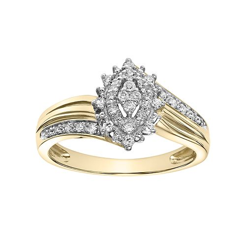 Lovemark 10k Gold 1/5 Carat T.W. Certified Diamond Marquise Engagement Ring