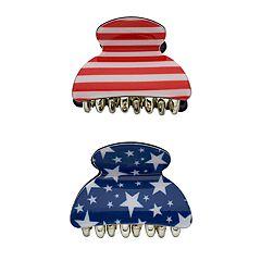 Stars & Stripes Patriotic Claw Hair Clips 2-pk.