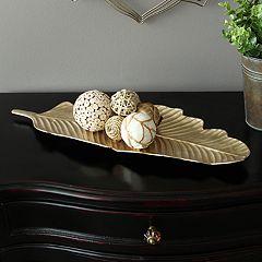 Stratton Home Decor Gold Finish Leaf Table Decor