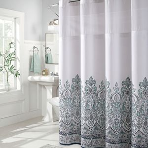 Hookless Yarn Dye Stripe Shower Curtain Water Resistant Liner Regular