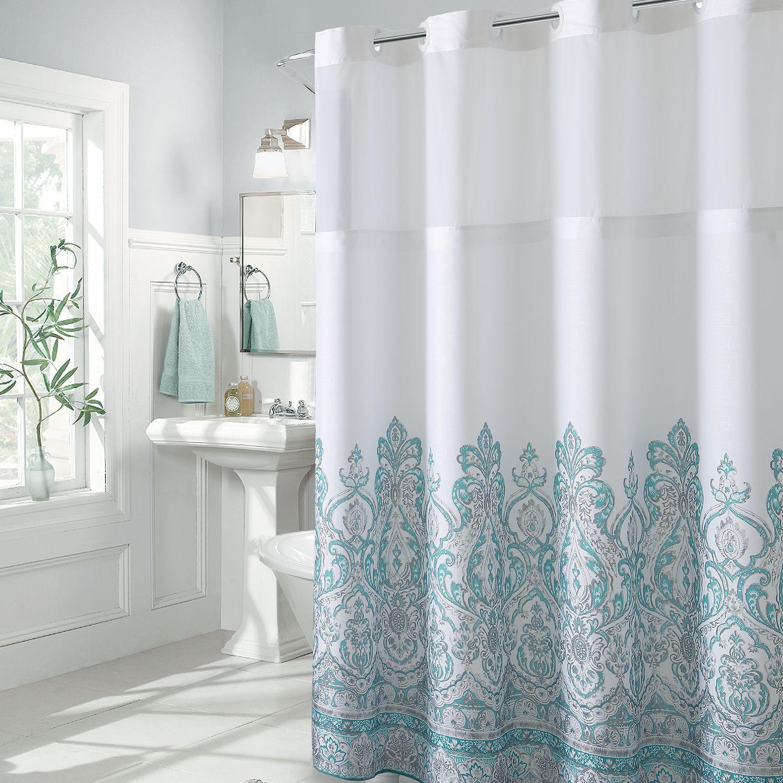 Delicieux Hookless Damask Border Shower Curtain U0026 PEVA Liner