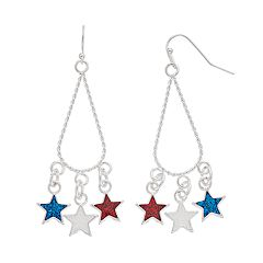 Red, White & Blue Star Drop Earring