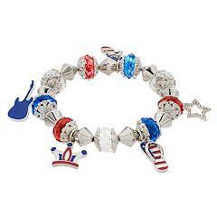 Red, White & Blue Stretch Charm Bracelet