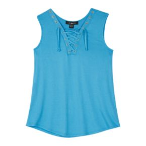 Girls 7-16 IZ Amy Byer Lace-Up Front Knit Tank Top