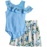 Girls 7-16 Beautees Ruffle One Shoulder Leotard & Skater Skirt Set