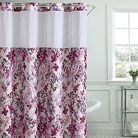 Hookless Watercolor Floral Print Shower Curtain & PEVA Liner
