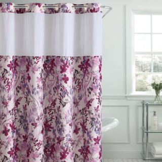 Hookless Watercolor Floral Print Shower Curtain & PEVA Liner