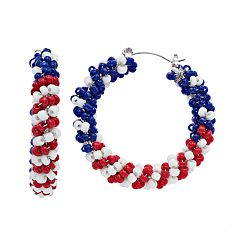 Red, White & Blue Nickel Free Beaded Twist Hoop Earrings