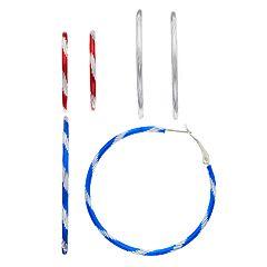 Red, White & Blue Textured Nickel Free Hoop Set