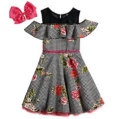 Girls 7-16 Beauteez Ruffled Cold Shoulder Skater Dress with Bow