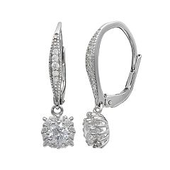 PRIMROSE Sterling Silver Cubic Zirconia Square Drop Earrings