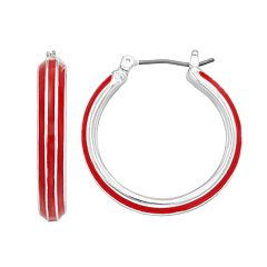 Napier Enamel Hoop Earrings