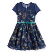 Girls 7-16 Beauteez Floral Print Belted Skater Dress