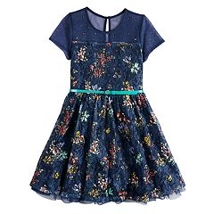 Girls 7-16 Beauteez Floral Print Belted Skater Dress