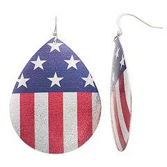 American Flag Nickel Free Teardrop Earrings