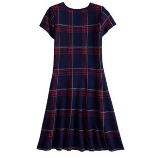 Girls 7-14 My Michelle Plaid Pattern Sweater Dress