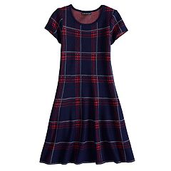 Girls 7-14 My Michelle Plaid Pattern Sweater Dress
