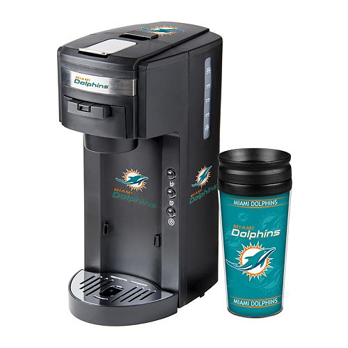 Boelter Miami Dolphins Deluxe Coffee Maker & 14-Ounce Travel Tumbler Mug